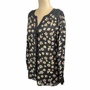 ROMY Black Floral Sheer Button Down Small
